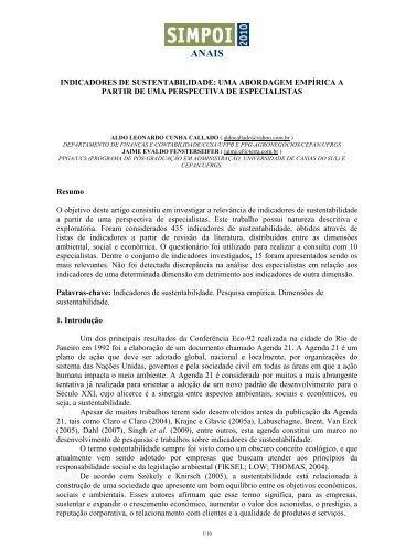 INDICADORES DE SUSTENTABILIDADE: UMA ... - Simpoi