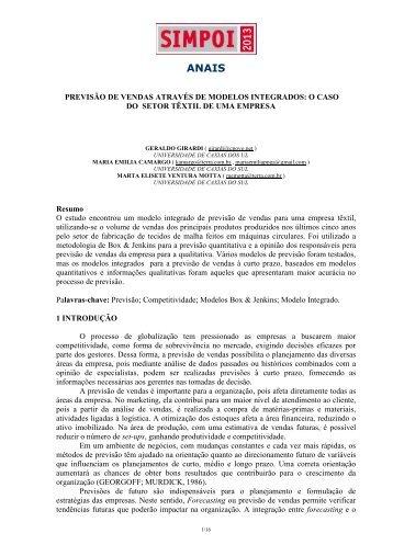 PREVISÃO DE VENDAS ATRAVÉS DE MODELOS ... - Simpoi