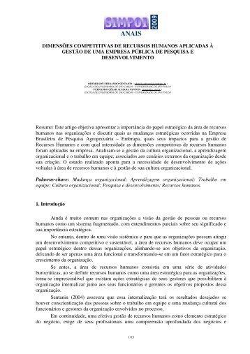 DIMENSÕES COMPETITIVAS DE RECURSOS HUMANOS ... - Simpoi