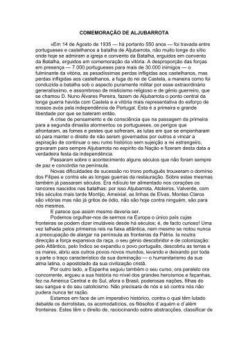 COMEMORAÇÃO DE ALJUBARROTA «Em 14 de Agosto ... - Salazar