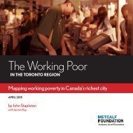 The Working Poor in the Toronto Region: Mapping Working Poverty in Canada's Richest City