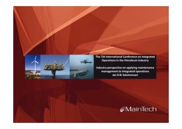 Industry perspective on applying maintenance management to ...