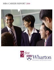 MBA CAREER REPORT 2006 - Wharton MBA Career Management