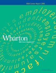 MBA Career Report 2000 - Wharton MBA Career Management