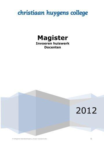 Handleiding huiswerk in Magister - Christiaan Huygens College