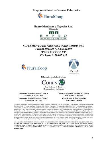 Programa Global de Valores Fiduciarios Bapro Mandatos y ... - Cohen