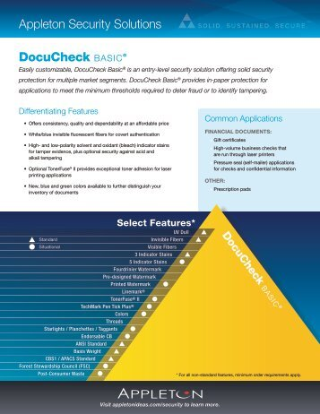 DocuCheck Basic® appleton security solutions - Appleton Papers, Inc