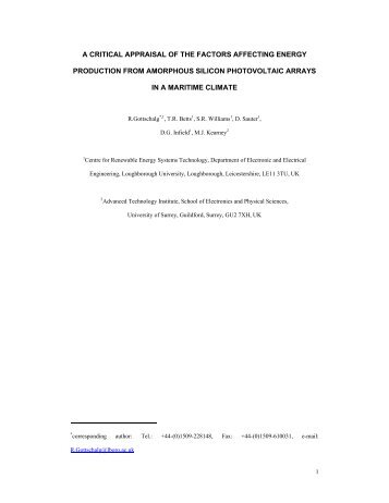 a critical appraisal of the factors affecting energy production from ...