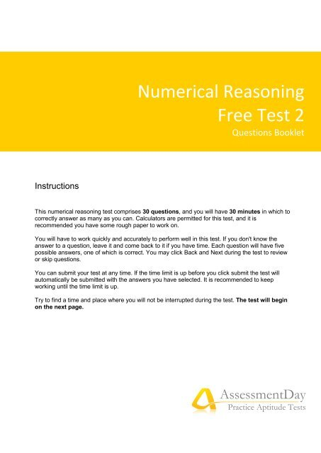Numerical Reasoning Test 2 Questions (PDF) - Aptitude Test