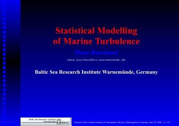 Statistical Modelling of Marine Turbulence Hans Burchard