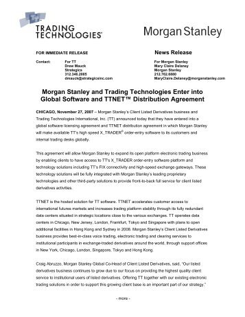 Morgan Stanley and Trading Technologies Enter into Global ...