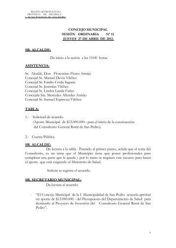 SR. ALCALDE - I.Municipalidad de San Pedro