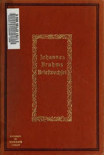 Johannes Brahms im Briefwechsel mit Karl Reinthaler, Max Bruch ...