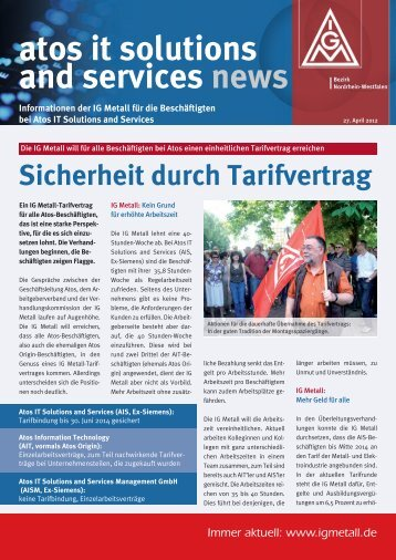 Sicherheit durch Tarifvertrag atos it solutions and services news