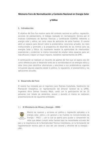 Memoria Foro de Normalización y Contexto Nacional en ... - Upme