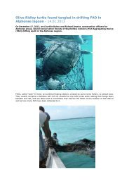 Olive Ridley turtle found tangled in drifting FAD in Alphonse lagoon ...