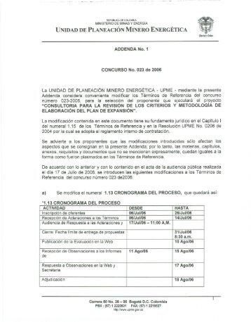 Ver Addenda 1 - Unidad de Planeación Minero Energética, UPME