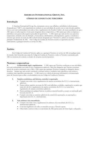 Introdução Âmbito Normas e expectativas - AIG.com