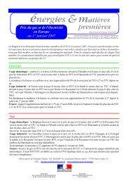Prix du gaz et de l'électricité en Europe au 1er janvier 2007