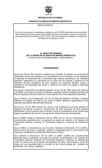 REPUBLICA DE COLOMBIA - Upme