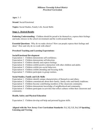 Preschool Registration Packet - Millstone Township Schools