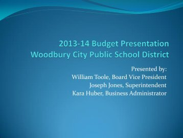 2013-14 School District Budget PowerPoint - Woodbury Public ...