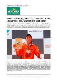 TONY CAIROLI CAMPEÓN DEL MUNDO DE MX1 2010 - Motorex