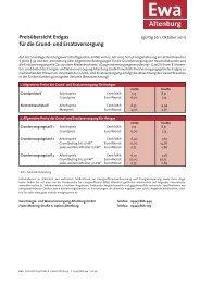 Preisübersicht Erdgas für die Grund- und Ersatzversorgung