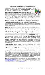 Newsletter: Fall 2010 - Dartmouth All City Music
