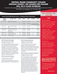 on course for college • fall 2013 class schedules lincoln county ...