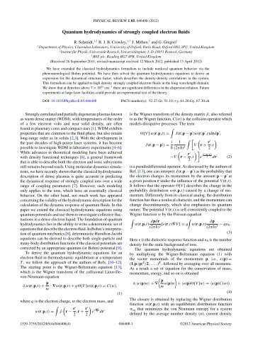Quantum hydrodynamics of strongly coupled electron fluids