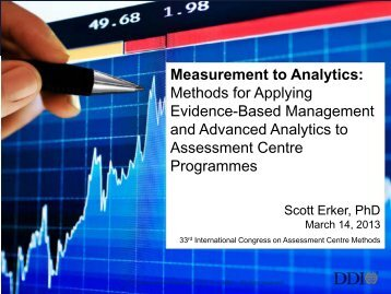 Measurement to Analytics: Methods for Applying Evidence ... - ACSG