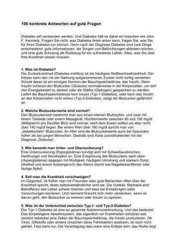 100 konkrete Antworten auf gute Fragen - Diabetes Austria