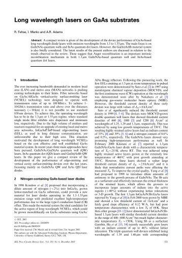 Long wavelength lasers on GaAs substrates - Circuits ... - IEEE Xplore