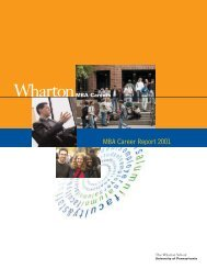 MBA Career Report 2001 - Wharton MBA Career Management