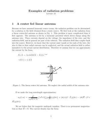 Examples Of Radiation Problems 1 A Center Fed Linear Antenna