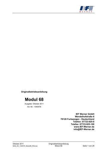 Originalbetriebsanleitung Modul 68, deutsch - IEF Werner GmbH