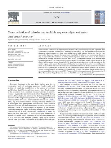 Characterization of pairwise and multiple sequence alignment errors