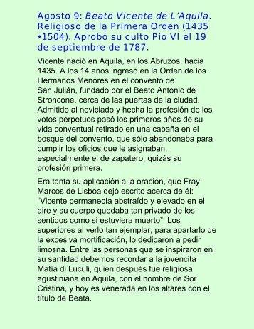 Agosto 9: Beato Vicente de L'Aquila. Religioso ... - Vidas ejemplares