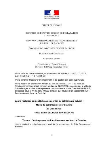 Récépissé de déclaration du 15/03/2013 - Les services de l'État ...