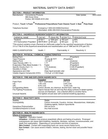 MATERIAL SAFETY DATA SHEET - Chemical Design Corporation