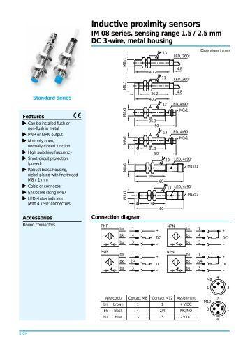 inductive sensors dc wire m sn mm mm npn pnp balluff inductive proximity sensors im 08 series sensing range 1 5 2 5 mm