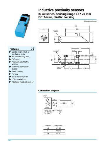 inductive sensor iq dc wire standard series flush sensing inductive proximity sensors