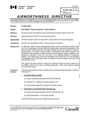 airworthiness directives Pursuant to section 72i(3a) of the civil aviation act 1990, i, owen olls, airworthiness specialist, acting under a delegation from the director of civil aviation, hereby issue the following airworthiness directives in respect of aircraft or aeronautical products.
