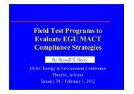 Field Test Programs to Evaluate EGU MACT Compliance Strategies
