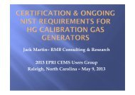 Certification & Ongoing NIST Requirements for Hg Calibration Gas ...