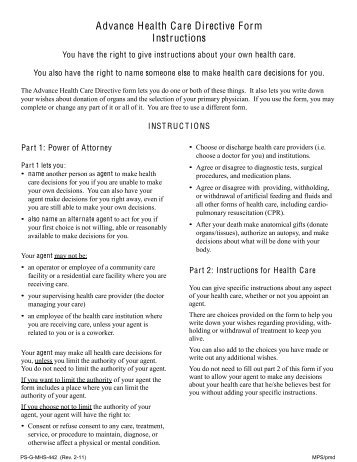 Advanced Directive Form (PDF) - Coalition for Compassionate Care ...