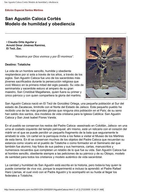 San Agustín Caloca Cortés Modelo de humildad     - Vidas