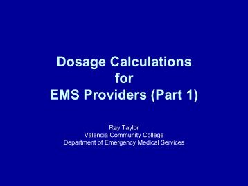 Dosage Calculations for EMS Providers