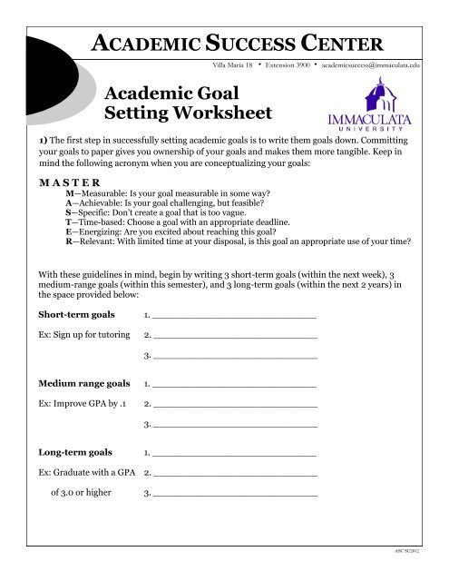 This goal-setting worksheet